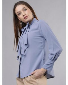 Blue Fancy top with collar bow and full sleeves