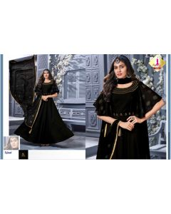 Women Black Chanderi full length Gown and Full size Dupatta