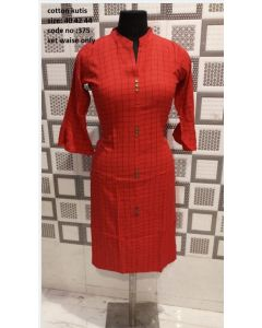 Dark Red Women crepe straight kurta with checks print