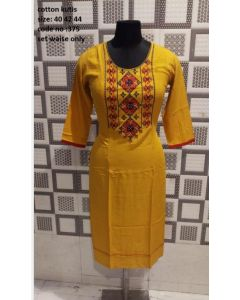 Yellowish stylish women kurta with emrodiary work