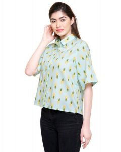 Women plain shirt pineapple print
