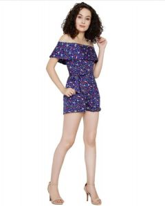 Girls fancy cotton Blue short jumpsuit floral print sleevless