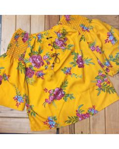 Casual 3/4 Sleeve Floral Print Women Yellow Off Shoulder Top