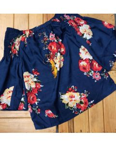 Casual 3/4 Sleeve Floral Print Women Blue Off Shoulder Top