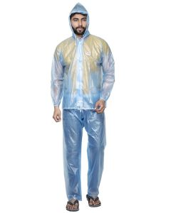 BTC Satyam Men's Polyester PVC Raincoat With Attched Cap And Cover