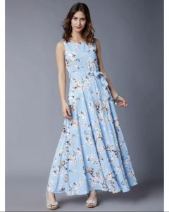 Women Stylish and beautiful cotton floral print light blue Gown