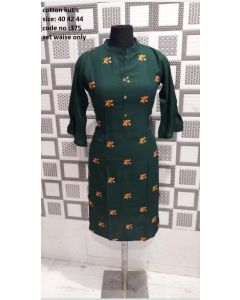 Dark green Kurta with orange petals