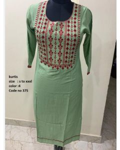 Pista Green Pure Cotton stylish women Kurta