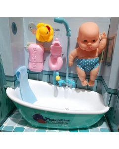 Little Newborn Baby Bathtime Doll Bath Set - Real Working Bathtub with Detachable Shower Spray and Accessories for Kids Pretend Play