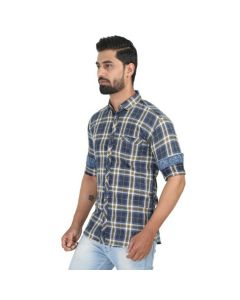 Blue Checked Shirt with Patch Pocket