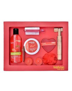 BodyHerbals Strawberry Essential Gift Set (Strawberry Shower Gel 200ml, Hand Scrub 100gms, Strawberry Bathing Bar 100gms, 2 In 1 Pumice Brush, Wooden Massager, Bath Puff, 2 Tea Lites)