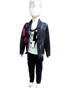 Fancy dress with T-shirt with stylish coat and stylish jeans