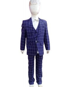 Fashion Collection Party wear Full suit 4 pc set Blue Checks print