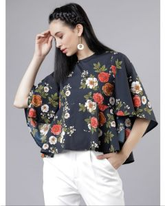 Casual short sleeves Black floral print stylish Top