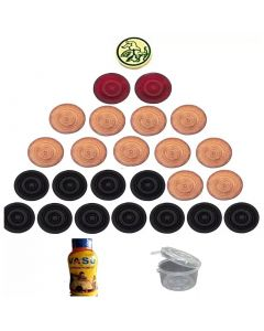 Wooden carrom coin with striker and powder for carrom board Carrom Pawns