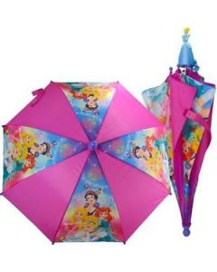 "Disney Princess Umbrella 20""-3D Handle-Pink. Princess Applique Handle."