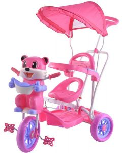 TOYSHOPPEE Tricycle for Kids Pink Colour with Parent Handel or Music or Front Back Basket