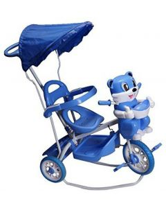 TOYSHOPPEE Tricycle for Kids Blue Colour with Parent Handel or Music or Front Back Basket