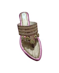 Golden brown sandal with pink border and moti decorated