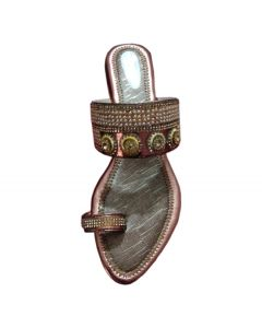 Women golden flat sandal with moti works
