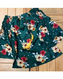 Casual 3/4 Sleeve Floral Print Women Green Off Shoulder Top