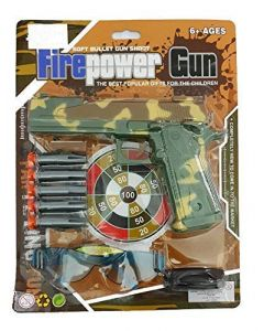 Amazing FIRE Power Toy Gun for Kids. | with 4 Soft Bullets and Sunglass.