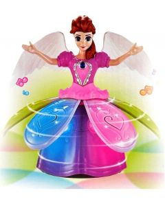 VShine Frozen Doll Dancing & Rotating Angel Girl - Dazzling Lights with Music - Princess Gift Toy  (Blue)