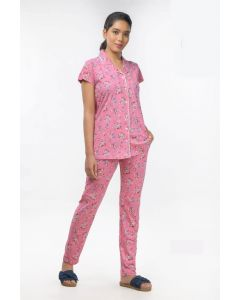 Women Imported Night Suit Pink Color with floral print
