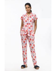 Women Imported Night suit Peach Color with Apple print
