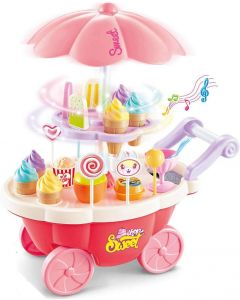 Ice Cream Candy Cart 39 PCS Pretend Play Food Dessert and Cash Trolley Set Toy
