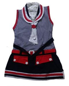 Kids red and Navy blue frock with button pattern