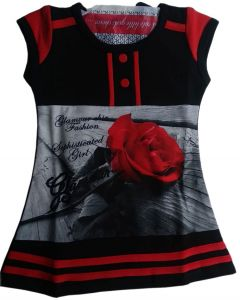 Kids frock black and red combination with rose printed