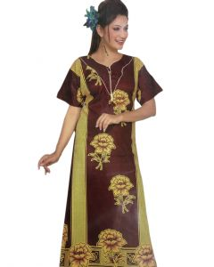 Maroon lotus print fancy women gown