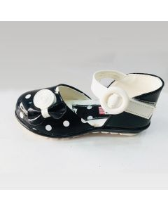 Girls kids sandal black and white combination with bow