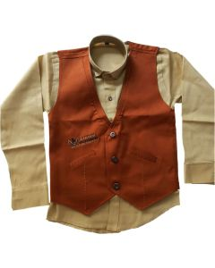 Boys New Fashion collection 3 pcs Suit Creame shirt and Brown Jacket with Denim Jeans