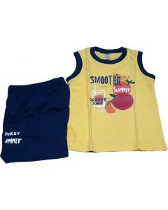 Summer pattern fancy dress for boys yellow and blue for 3 yrs