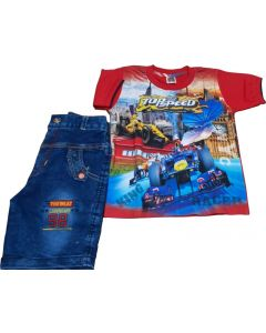 Red T_shirts and Denim shorts for 3 Yrs Boys