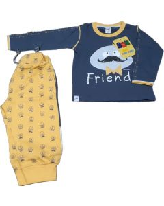 Blue Full sleeves T-shirt and Yellow lower full Dress for 3 Yrs Boys
