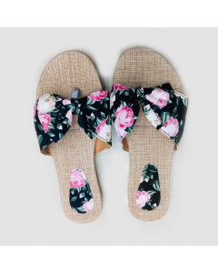 Women Black Flower Flat Sandal