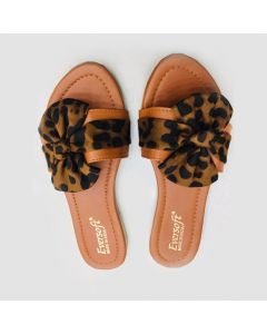 Women Brown Flip-Flop with Tiger Print Bow