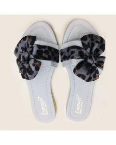 Women White Flip-Flop, Multi-color Bow