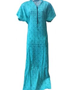 Blue cotton feeding gown with collar pattern