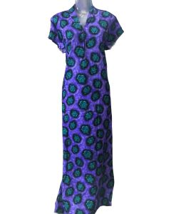 Women Fancy cotton Gown with Purple and Blue floral print