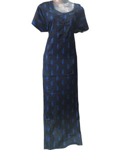 Women fancy Cotton Gown navy Blue with Floral print