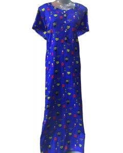 Blue Cotton feeding gown with chimney print
