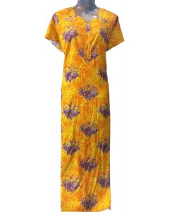 Women yellow cotton gown with purple floral print