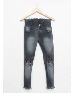 Girls beautiful Jeans with cat pattern