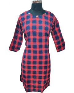 Women Pink and Blue checks stylish kurta