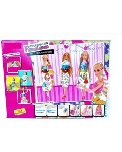 Long Hair Color Painting Fashion Studio Doll With Colors , Stickers ,Dresses , Air Brush And Stencil  (Multicolor)