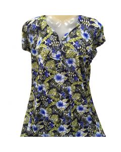 Night gown green with stylish blue flower